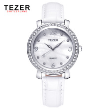 2016 New TEZER New Arrival Quartz-Watch Women Leather Strap Watch Women Wristwatches Ladies Fashion Watches