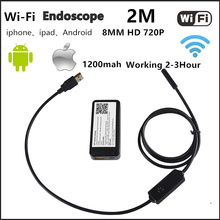 8.0mm Built in Battery Wifi Endoscope 2.0MP HD Camera IP66 Waterproof Snake Camera Inspection Borescope with LED Adjustable 2M