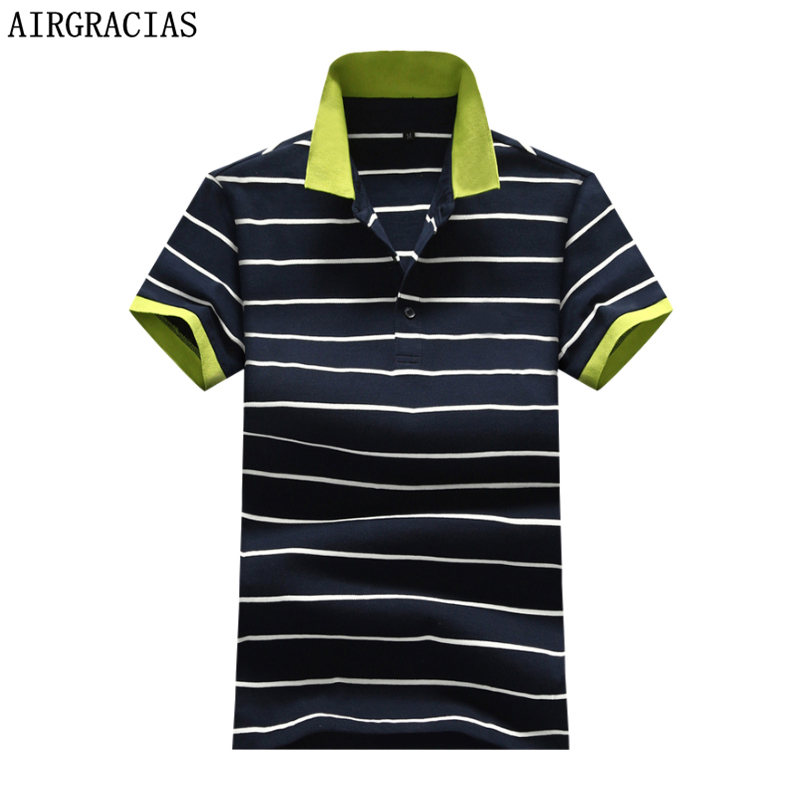 AIRGRACIAS   Polo   Ralphmen Brand   POLO   Shirt Men Cotton Fashion Striped Print Camisa   Polo   Short-sleeve Casual   Polo   Shirts 1736