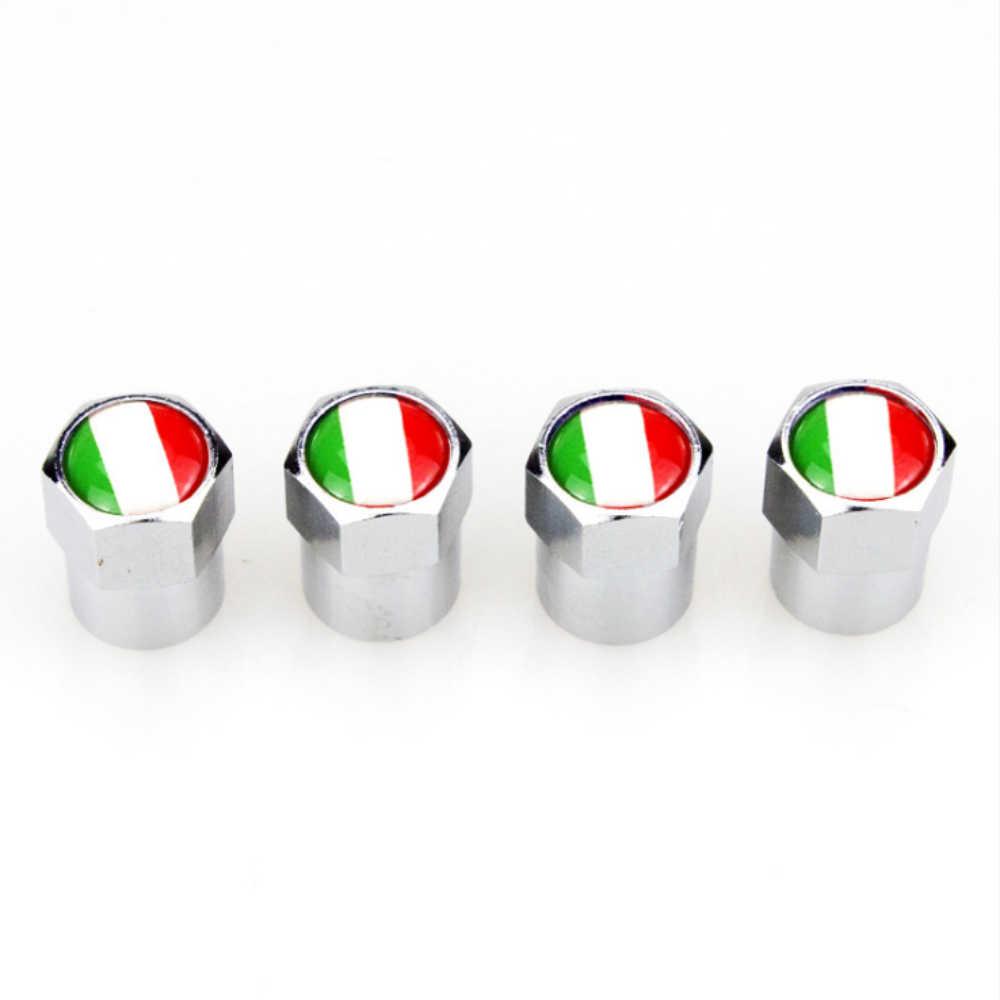 4 X Mobil Truk Dekorasi Aksesoris Bahasa Italia Bendera Logo Logam Roda Ban Tutup Katup Penutup untuk Fiat 500 Abarth 500X 5000L Panda