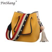 PinShang Fashion Colorful Strap Bucket Bag Women High Quality Pu Leather Shoulder Bag Brand Ladies Crossbody