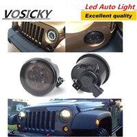 1 Paar Grill Richtingaanwijzer Voor Jeep Wrangler JK 07-15 Kit Front Richtingaanwijzer 8 LED Fender Recon Gerookte Amber Light Lamp