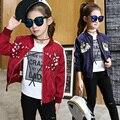 Meninas jaqueta de baseball jersey crianças casacos e jaquetas crianças outerwear menina casaco de lã da criança 3 ~ 14 anos de moda outono sping MC44