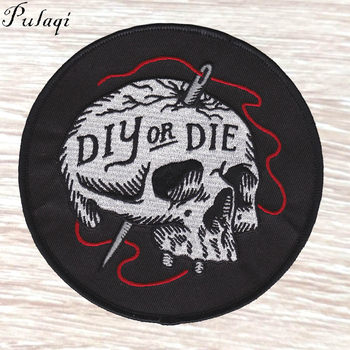 Pulaqi DIY OR DIE Death Patch Gothic Punk Iron On Skull Applique Sewing Fabric Embroidered Patches For Clothes Rock Accessories image