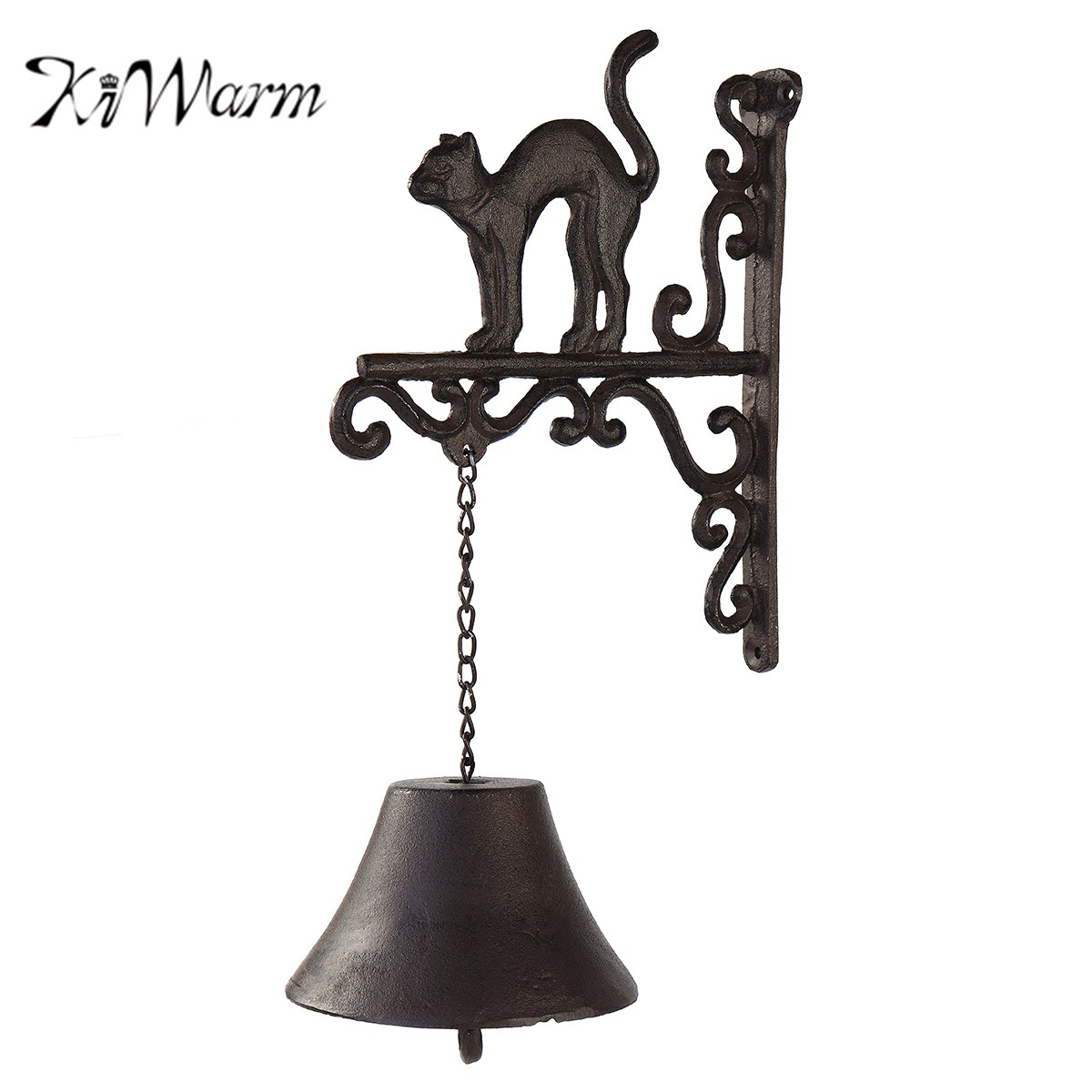 KiWarm Vintage Cast Iron Door Bell Metal Wall Mounted Bend Back Cat Design for Home Garden Hanging Ornament