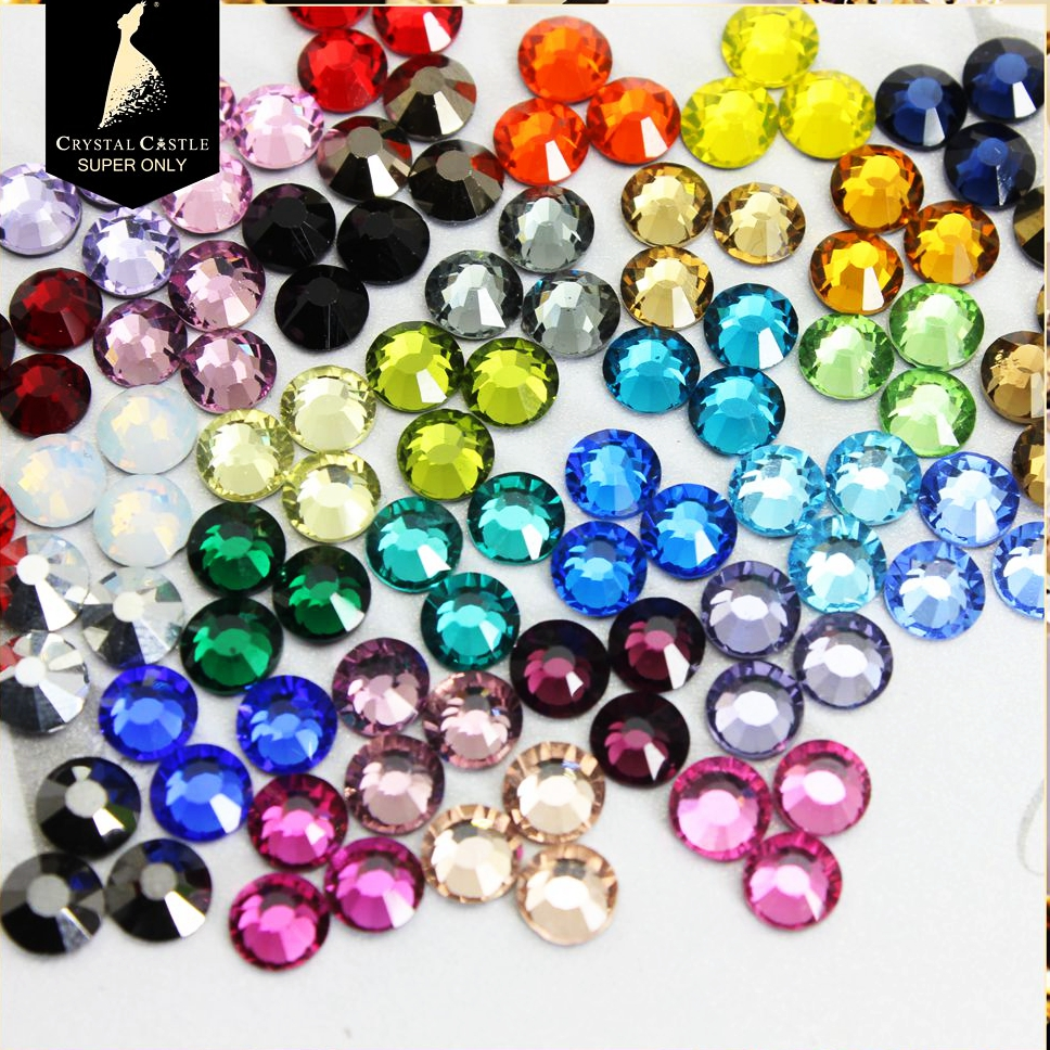 Crystal Castle Hotfix Strass 5A Mix 4 Color Crystal and Stone Deluxe Gems Flat Back Glass Glass Hot Fix Rhinestone for Gymnastic Wear