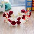 Fashion flower crown girl red hairband tiara crystal floral hairwear gold butterfly bride headpiece wedding accessories peilian