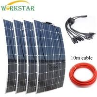 WORKSTAR 4*100W Flexible Solar Panels 12V Solar Charger for RV/Boat Car 400w Solar Power Beginner Outdoor Solar Charger