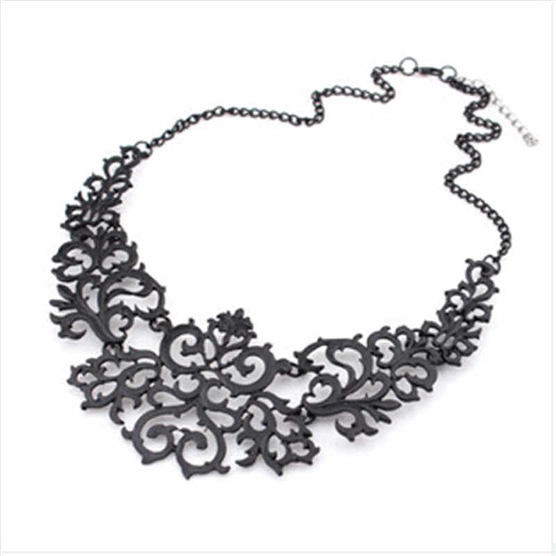 Ahmed Jewelry For Women Gift 3 Colors Hollow Flower Alloy Vintage Alloy Short Choker Statement Necklaces & Pendants