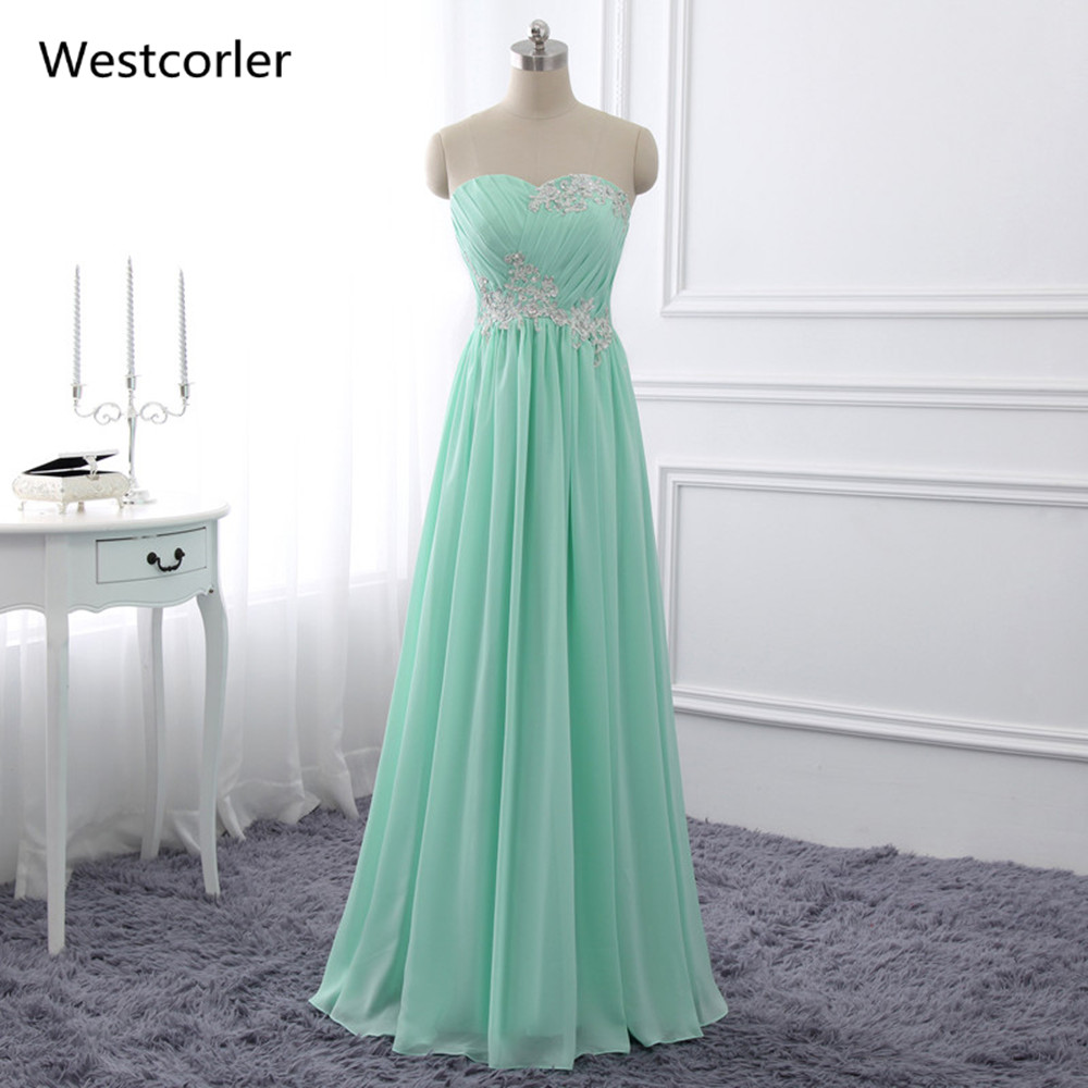 2019 Real Picture Mint Grøn Brudepige Kjoler Lang Med Ansigter Og Pleat Sequin Beaded Prom Kjoler Prom Party Kjole