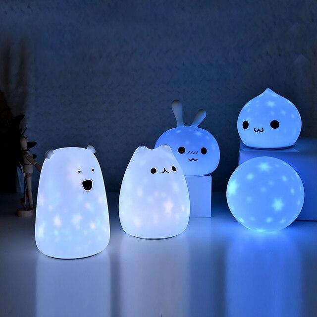 Nuevo proyector LED de estrellas con luz nocturna, lámpara recargable por USB de silicona suave y de dibujos animados para bebés y niños, regalo para niños
