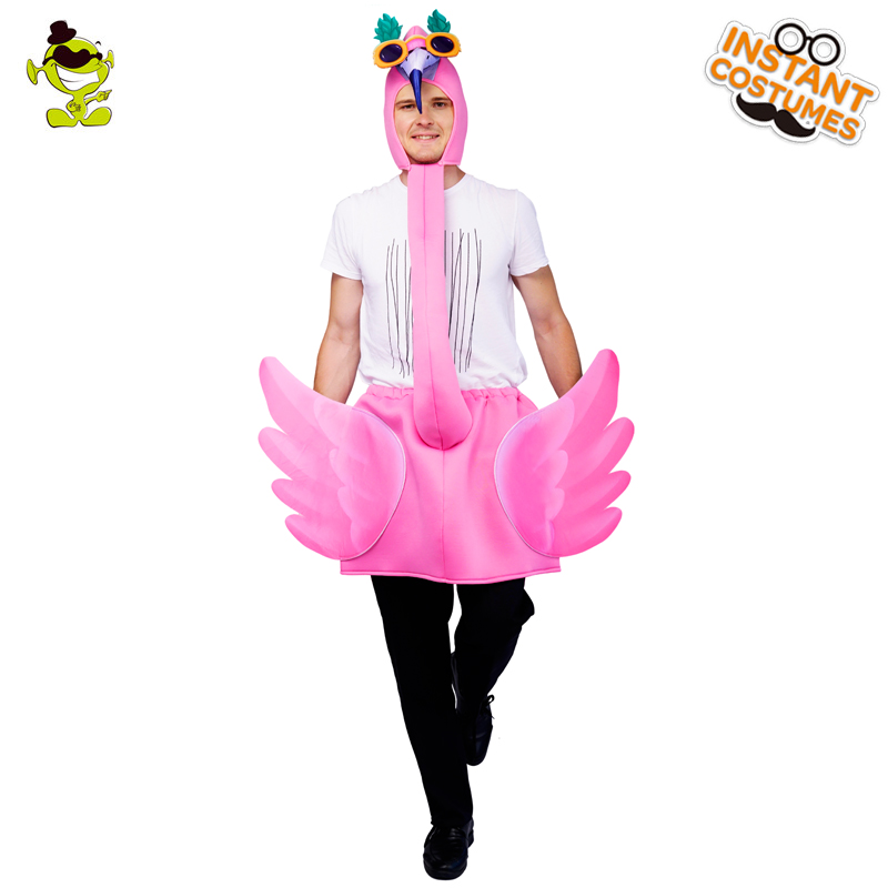Purim Party  Unisex Pink Flamingo Costume Fancy Dress Cute Pink Flamingo One Size  Cosplay Carnival Party Adult Men's&Women's
