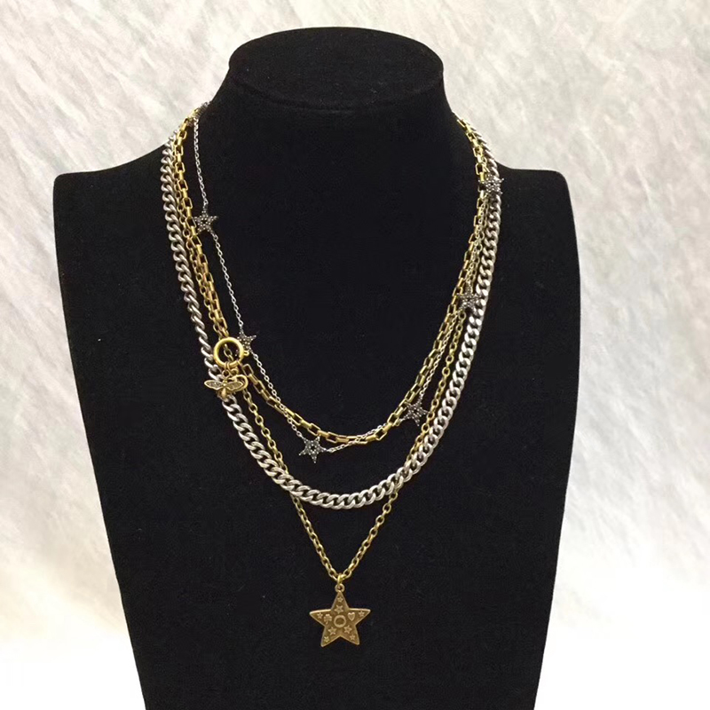 Brand Fashion Jewelry For Women Pearl Neckalce Vintage Chain Star Pendants Crystal Necklace Party Many Chain