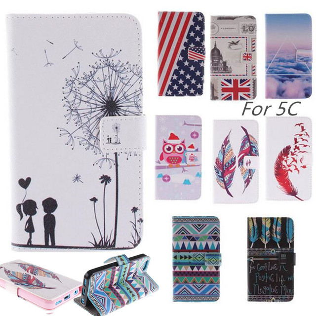 Case Cover iPhone 5C Phone Luxury PU Leather + Silicon phone case