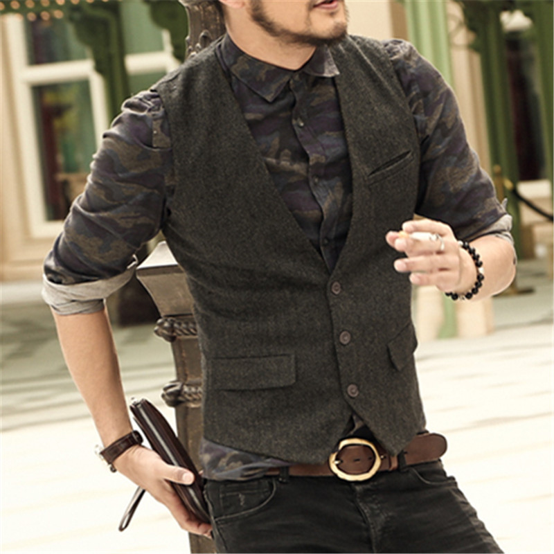 men casual sleeveless jacket coat mens formal waistcoats dress suit vest slim Three button Woolen vest British autumn suit vest ...