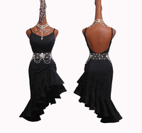 New Pattern Latin Dance Dress Braces Dress Stage Practice Performing Costumes Party Dancer Clothes Black Dress For Women DM1051