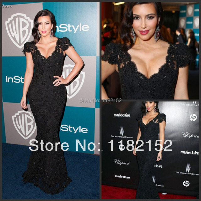 ab5378b9d3 2014 sexy kim kardashian black lace floor length deep v-neck mermaid hip  slim red carpet long dress celebrity dresses party