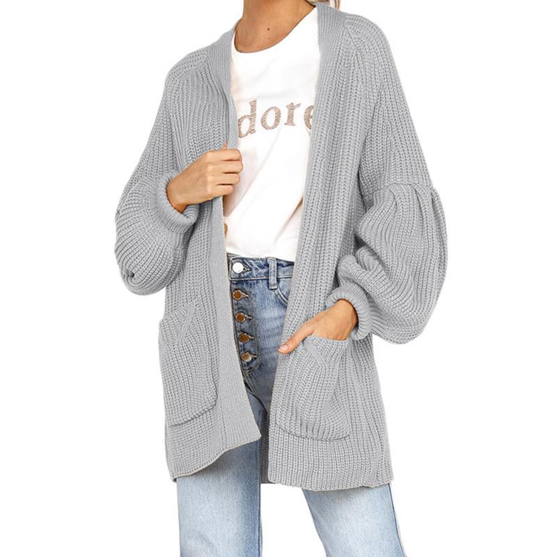 Women Sweater Cardigan Fashion Autumn Winter Long Puff Sleeve Pockets Loose Thick Knitted Long Cardigan Women Sweaters Coats