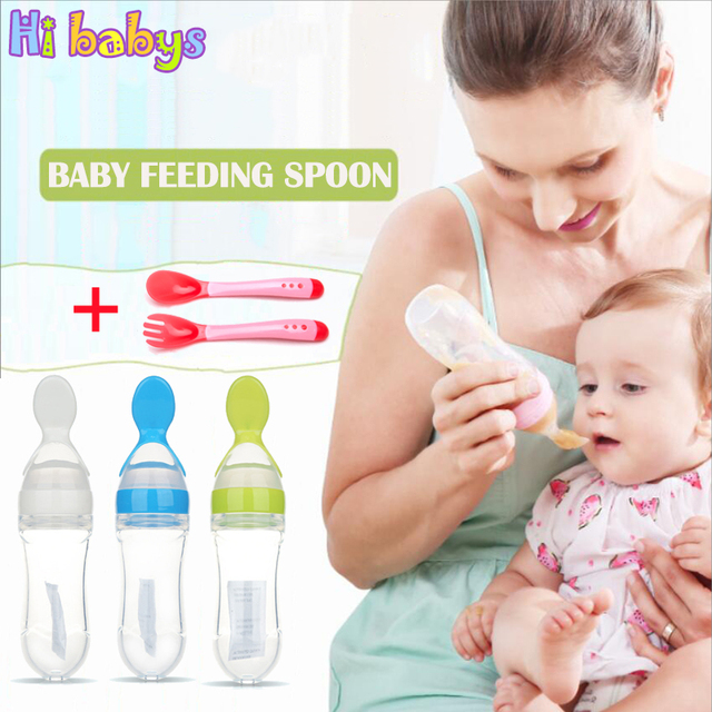Baby Feeding Bottle With Spoon Infant Silicone Fluid Food Bottle