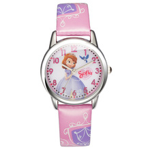 100% Disney brand Brave Sofia princess child lovely quartz watch girls dream good fashion casual leather watches Kid clock 2017