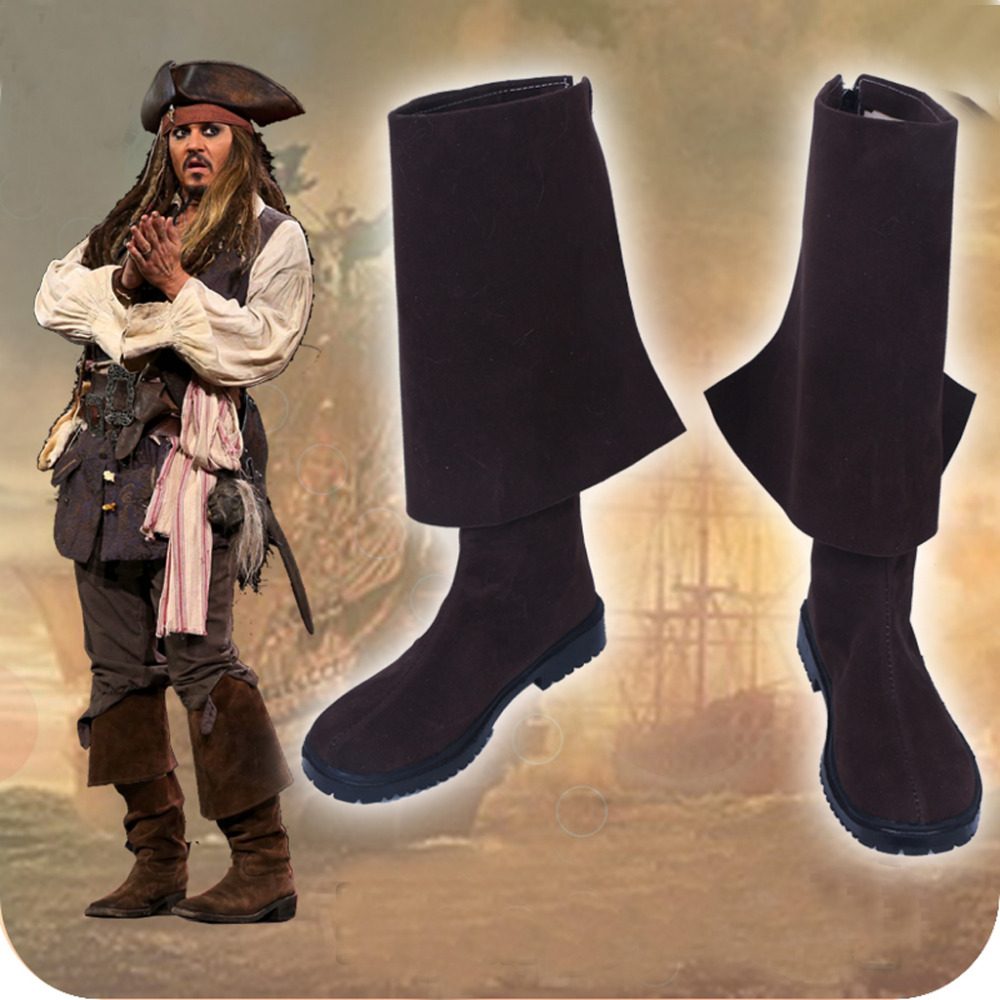 все цены на Pirates of The Caribbean 5 Captain Jack Sparrow Cosplay Shoes Boots Halloween Carnival Cosplay Costume Accessories For Men