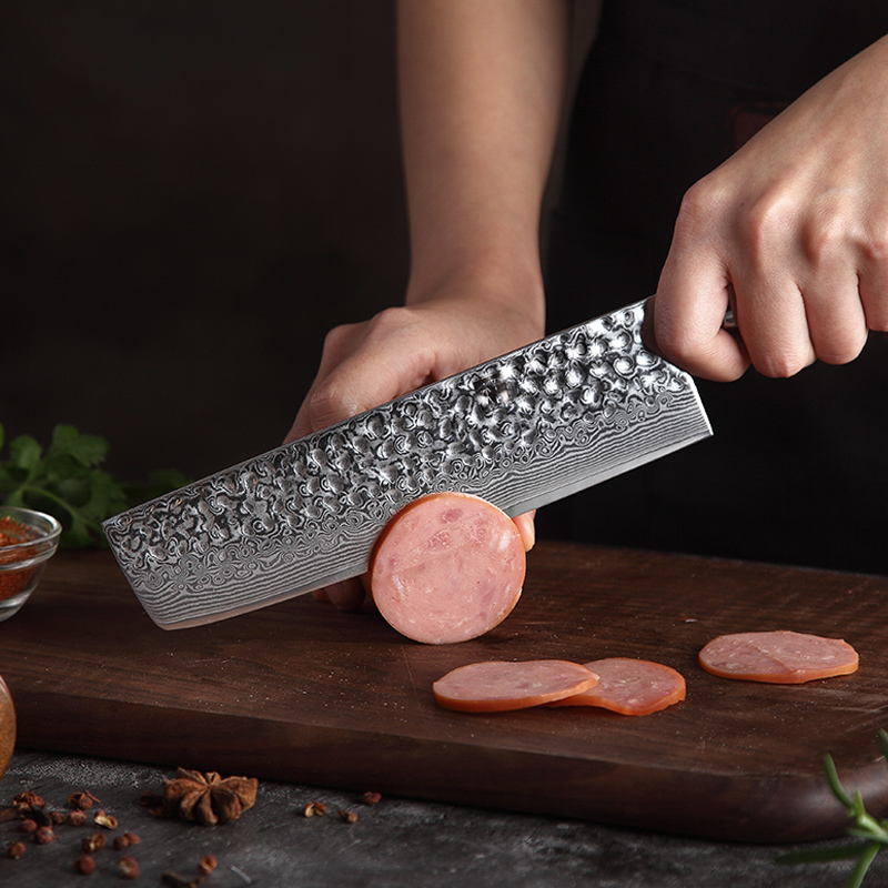 XINZUO 7 ''couteau trancheuse damas acier inoxydable cuisine Nakiri couteau coutellerie parfait pour trancher en dés hachage poignée en palissandre-in Couteaux de cuisine from Maison & Animalerie    2