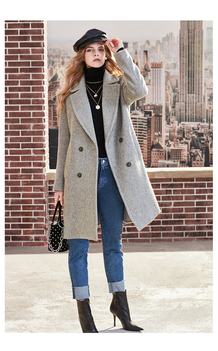 ONLY womens' winter new wool long thick woolen coat Fixed waist belt Double breasted Double breasted design|11834S543 10