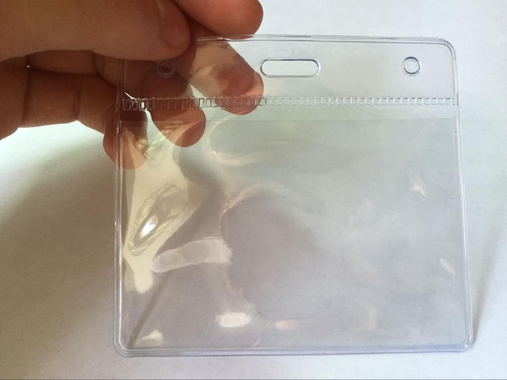 ᗗ100PCS soft PVC ID name badge card case passport cover Business ...