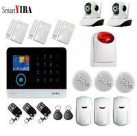 SmartYIBA Wireless Home Alarm WIFI+3G APP Remote Smart House Alarm with 2 IP Cameras GPRS SMS Alert Home Security Alarm System