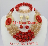 African Wedding Coral Beads Jewelry Set African Beads Jewelry Sets Nigerian Wedding Jewelry Free Shipping BC302
