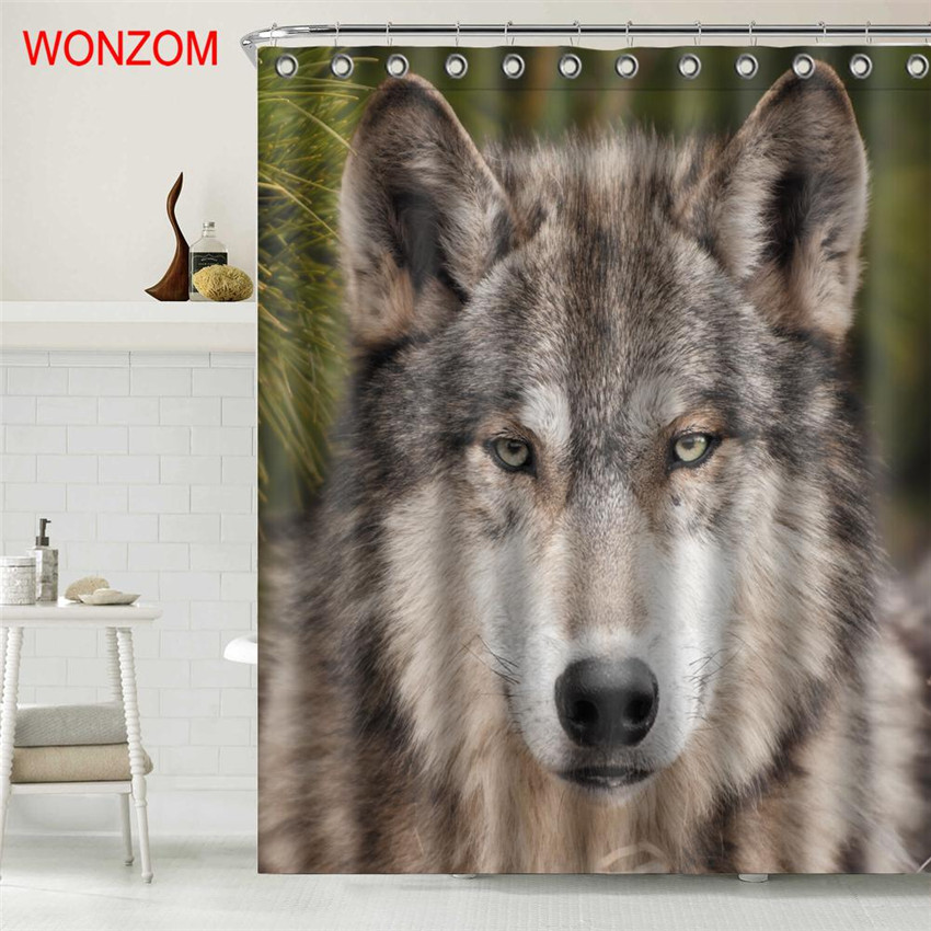 WONZOM Parrot Polyester Fabric Wolf Shower Curtain Frog Bathroom Decor Waterproof Animal Cortina De Bano With 12 Hooks Gift 2017 in Shower Curtains from Home Garden