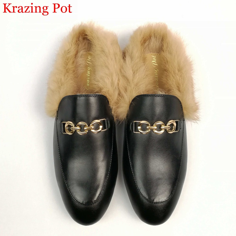 2018 superstar slingback rabbit fur runway classic outside slipper metal flat with fashion winter slippers warm handmade shoes
