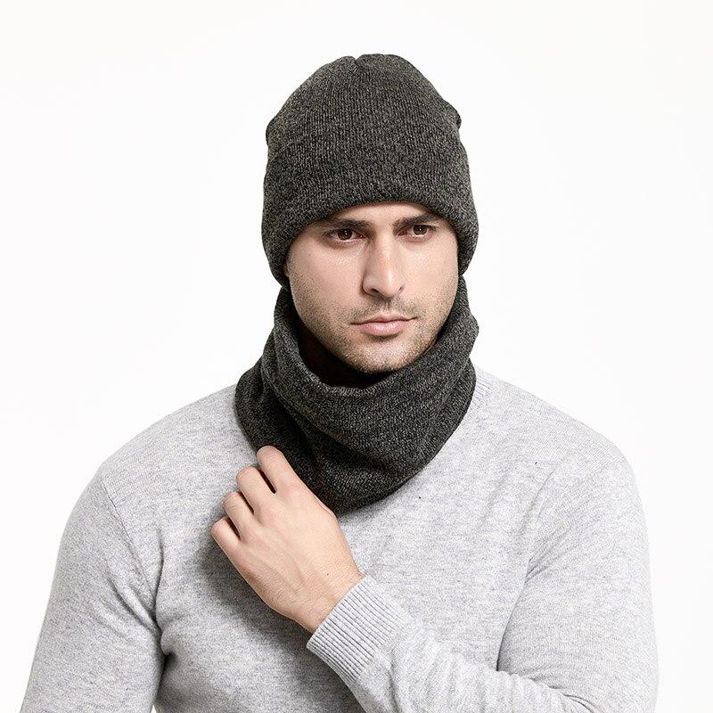 Зимний мужской набор шапки и шарфа, сохраняющая тепло, толстая вязаная шапка s, зимние аксессуары, Мужская шапочка, шарф, осенняя утолщенная шапка - Цвет: DeepGray