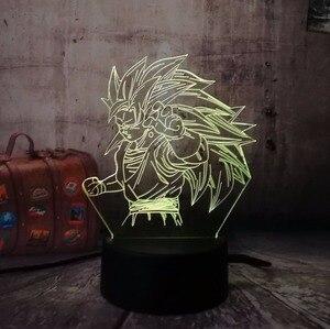 Рождественский подарок Новый Жемчуг дракона Супер Saiyan обезьяна Сон Гоку 3D настольная лампа Luminaria Светодиодные ночные светильники Освещение иллюзия Лампа подарок