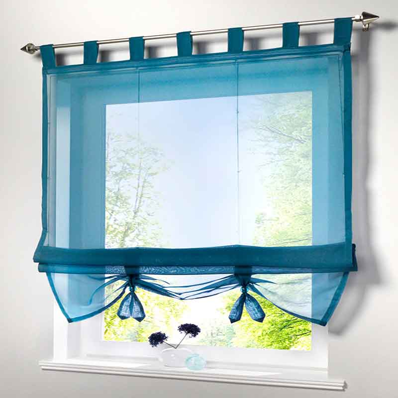 Short Voile Kitchen Curtain Solid Sheer Cortinas 7 Color Roman Curtain Blinds Screening Panel Tulle For Window Treatment