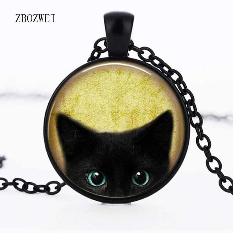 3/color động vật thời trang mặt dây chuyền vòng cổ người yêu mèo quà tặng glass bead black cat pendant mặt dây chuyền vòng cổ hợp kim trang sức