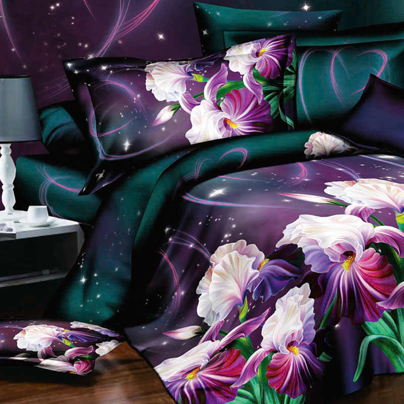 Free shipping! Flower 3d bedding set,4pcs Duvet cover set,bedclothes bed in a bag,Include:bed sheet,duvet cover pillowcase