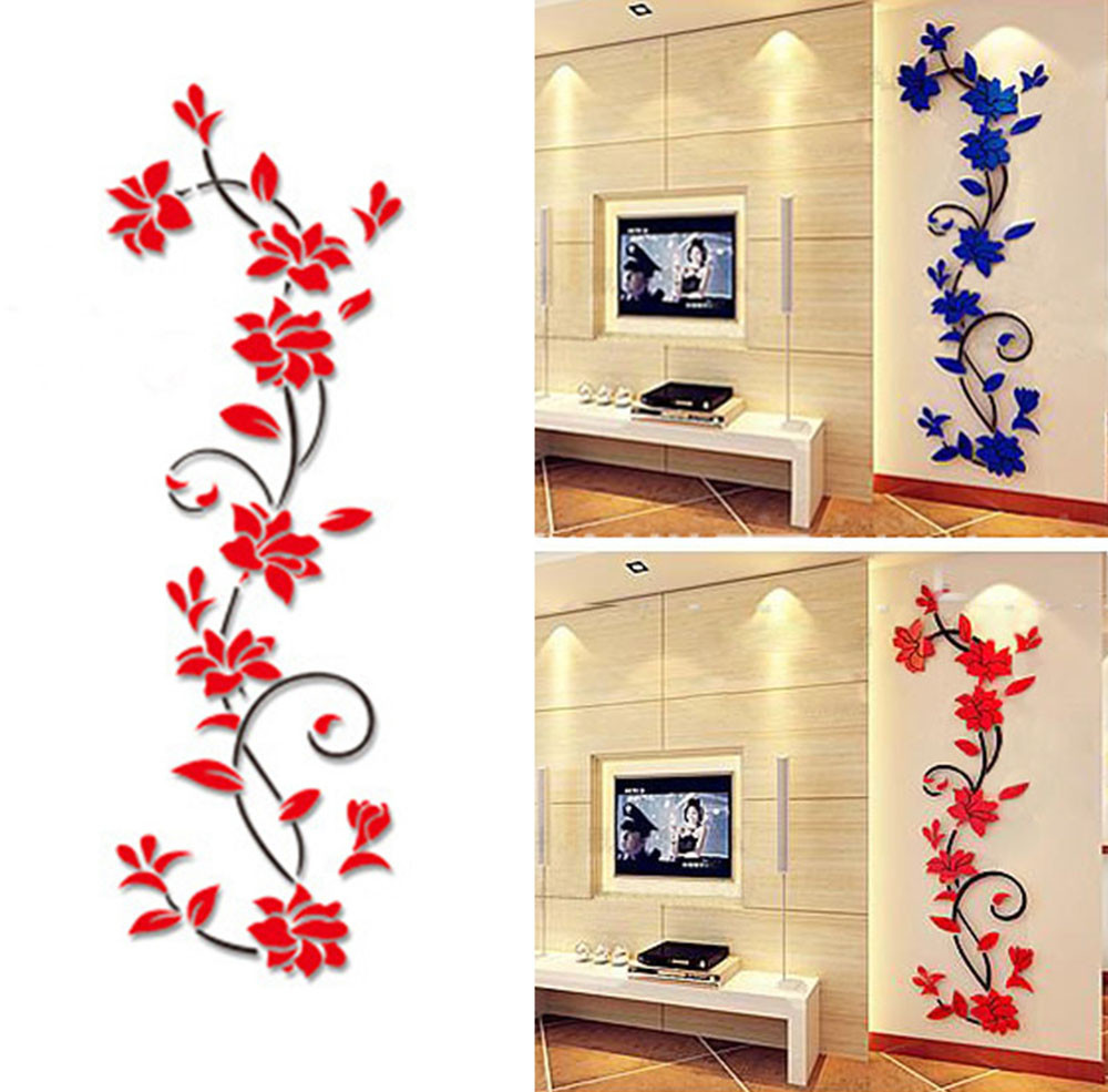 Acrylic Crystal 3D Wall Stickers Living Room TV Background plant ...