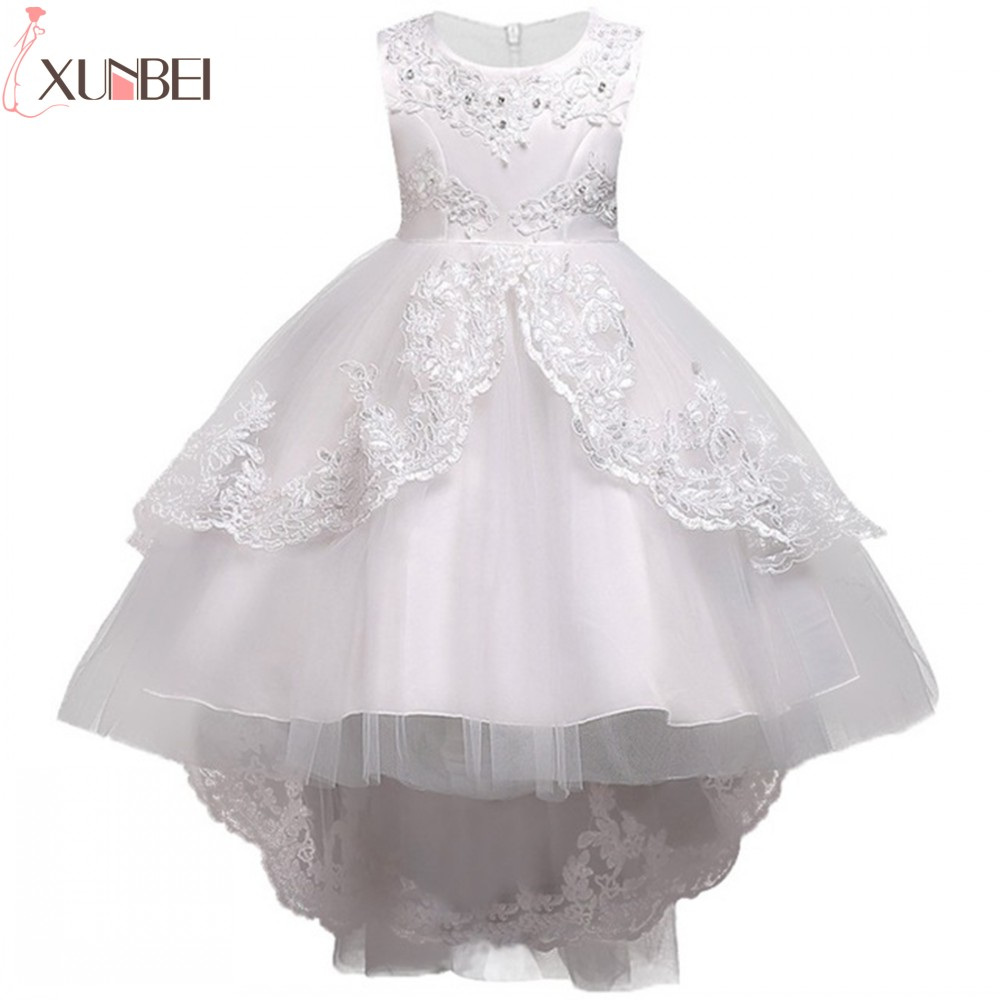 Pretty Lace Blue Puffy Flower Girl Dresses 2019 High Low Lace Appliques Communion Dresses Pageant Dresses For Little Girls