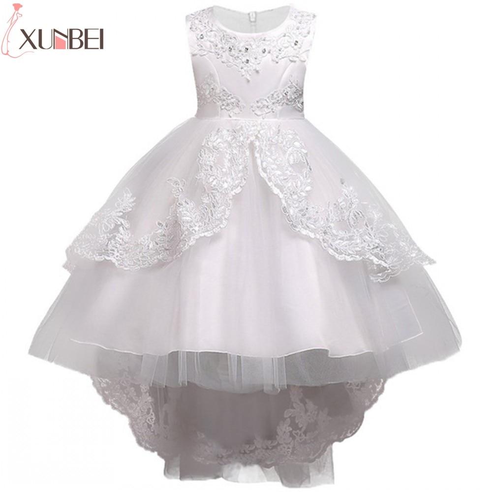 Pretty Lace Blue Puffy Flower Girl Dresses 2020 High Low Lace Appliques Communion Dresses Pageant Dresses For Little Girls