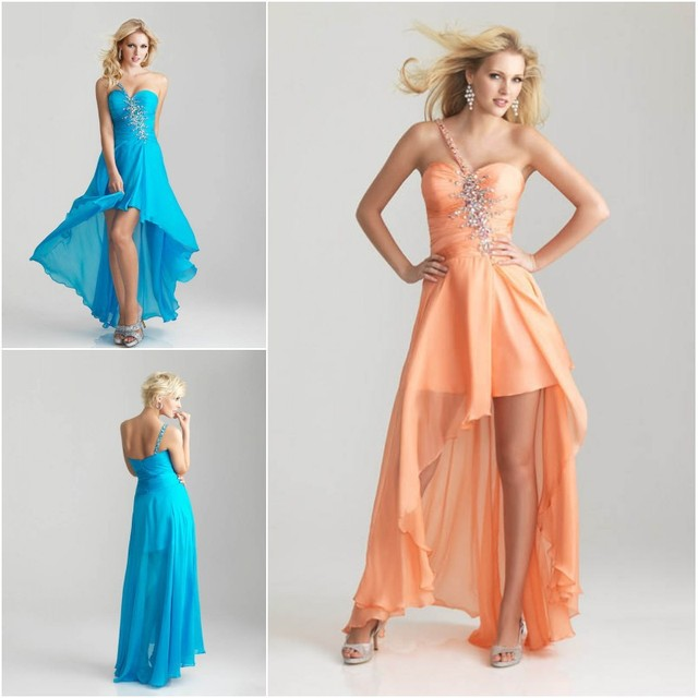 Free Shipping One Shoulder Semi Formal Gowns With Beaded Crystal ...