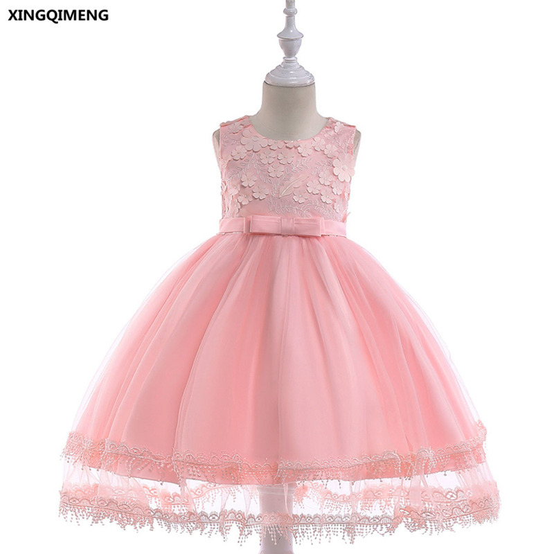 In Stock Pink Lovely Flower Girl Dresses Bow 3 10y Wedding Party