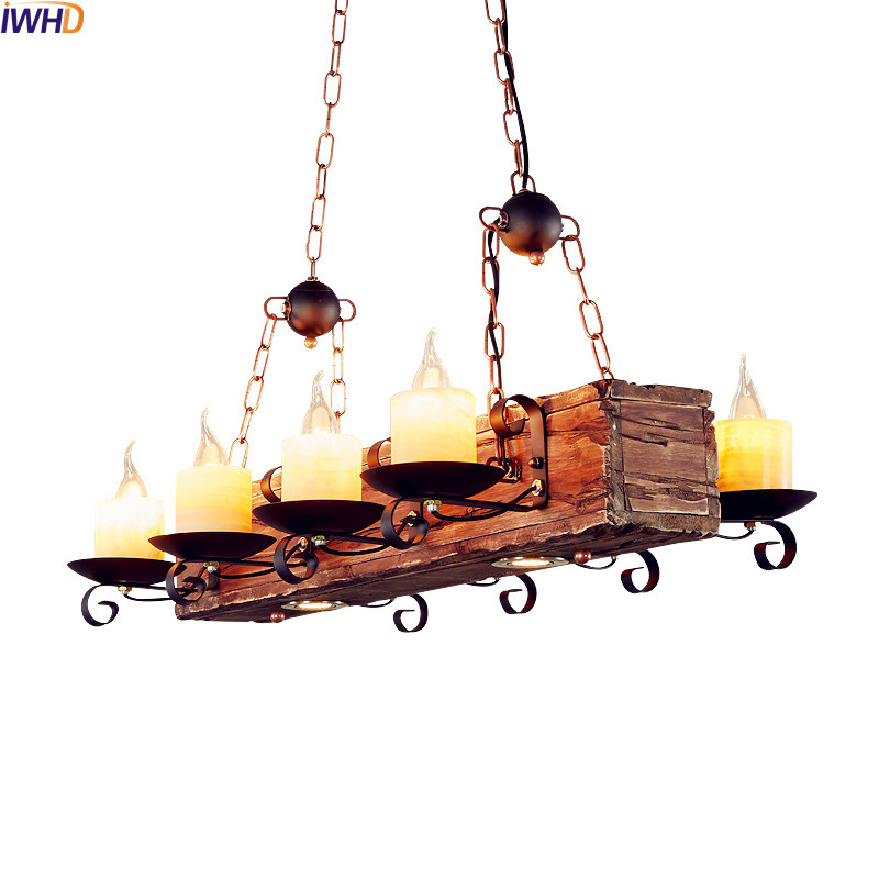 IWHD American Country Wooden Pendant Lights LED Restaurant Loft Style Industrial Vintage Lamp Edison Pendant Lighting Fixtures iwhd vintage industrial loft led pendant lights nordic retro pendant lamp rh wooden e27 3 droplight fixtures for home lighting