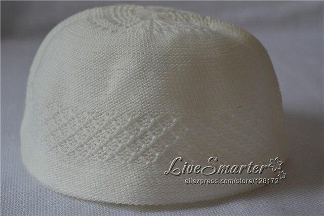 Plaid Circle Plain Muslim prayer cap for Boy Men Beanie Islamic crochet  taqiyah Turkish Arabic hat topi kufi caps f412963ed0