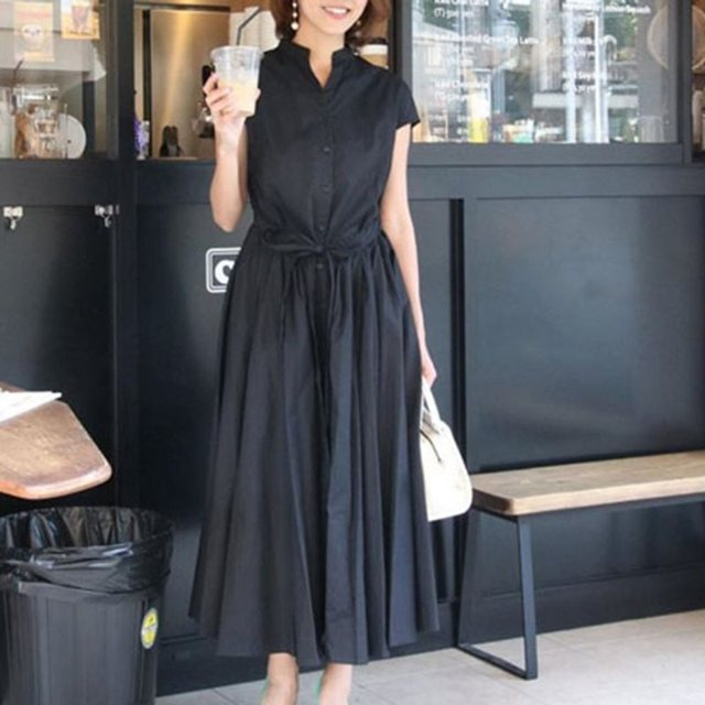 Elegant Vintage Black Summer Office Ladies Korean Women Long Dresses High Waist Plain Button Lace Up Female Fashion Retro Dress