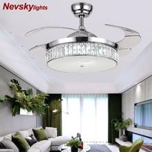 Moderne plafonnier à LED en cristal ventilateurs avec lumières chambre ventilateur lampe décoration pliant plafond ventilateur télécommande 220 volts