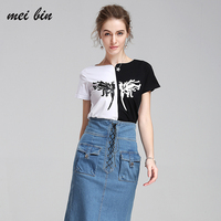 Famous Brand 2017 New Korean Loose T Shirts For Women Fashion Female Print T Shirt