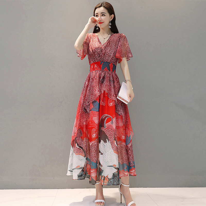 2019 women Summer dress Elegant Women Chiffon Print Bohemian Beach Dress Maxi Dress V-neck Casual Loose Plus size Dress Female 3