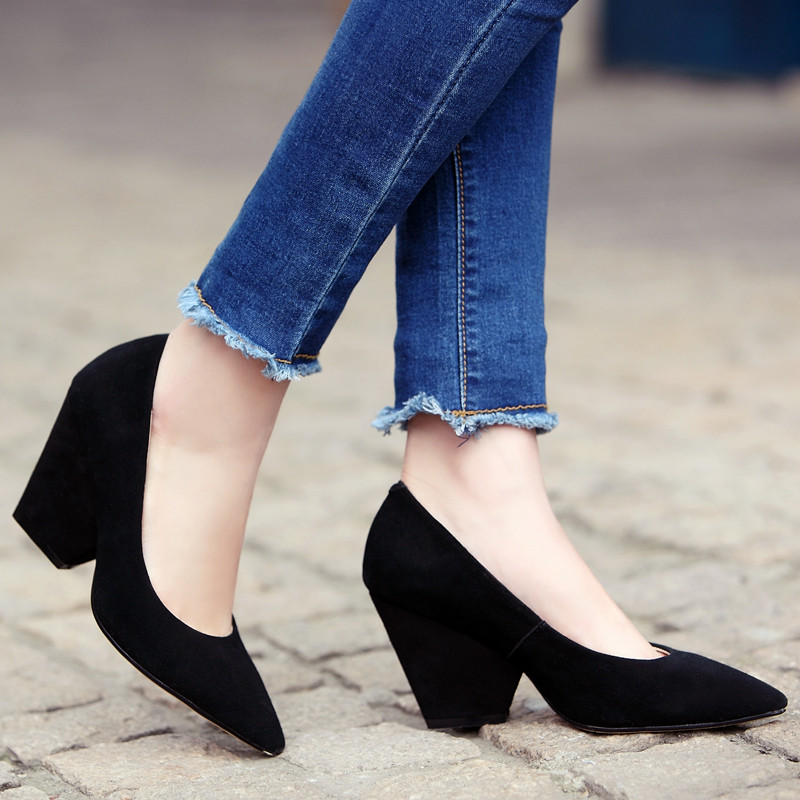 COCOAFOAL Woman Ultra High Heels Shoes Fashion Stiletto Sheepskin Wedding  Wedge Shoes Black Pointed Toe Genuine Leather Pumps-in Women s Pumps from  Shoes on ... 391d45011320