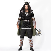 Adult Men Halloween Middle Age Viking Warrior Dress Costumes Fancy Barbarian Medieval Cosplay Clothing Helmet Set For Men